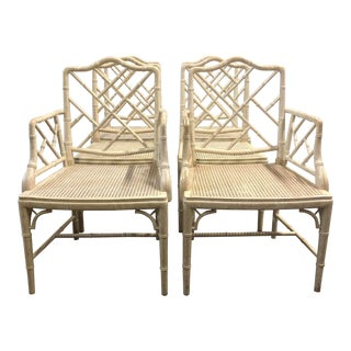 Vintage Faux Bamboo Chippendale Chairs - Set of 6 For Sale