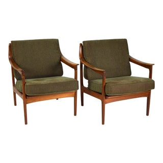 1960s Vintage Danish Modern Teak Armchairs Lounge Chairs- A Pair For Sale