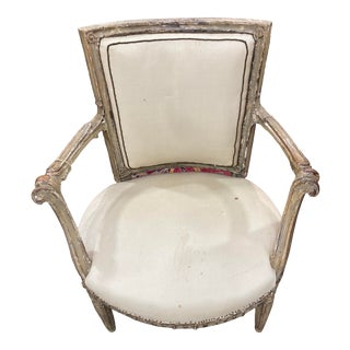 Italian Neoclassical Painted and Parcel-Gilt Armchair For Sale