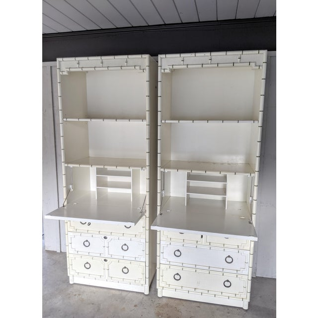 "Pair of Drexel ""Kensington"" secretary cabinets. Flexible, multipurpose units providing multiple storage options with two..."