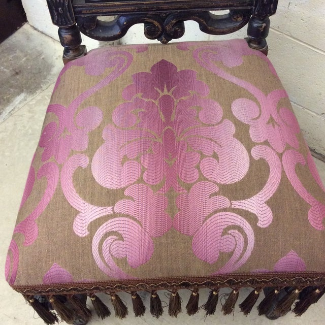 Pink Carved Mahogany Jacobean Style High Back Chairs-A Pair For Sale - Image 8 of 13