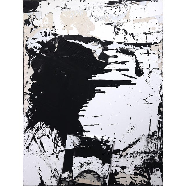 """Original Black and White Textural Painting """"0010"""" by Cole Altuzarra For Sale"""
