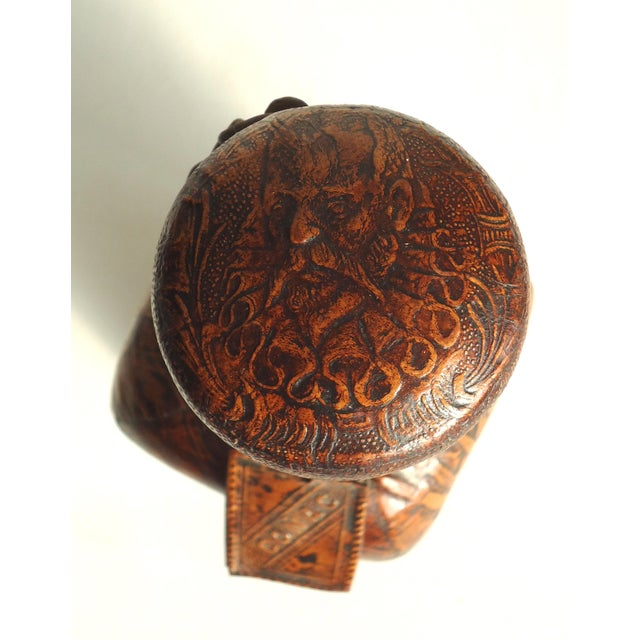 1970s 70s Leather Wrapped Spanish Conac Decanter For Sale - Image 5 of 5