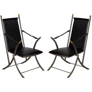 Pair of Chic Folding Campaign Armchairs in the Style of Maison Jansen For Sale