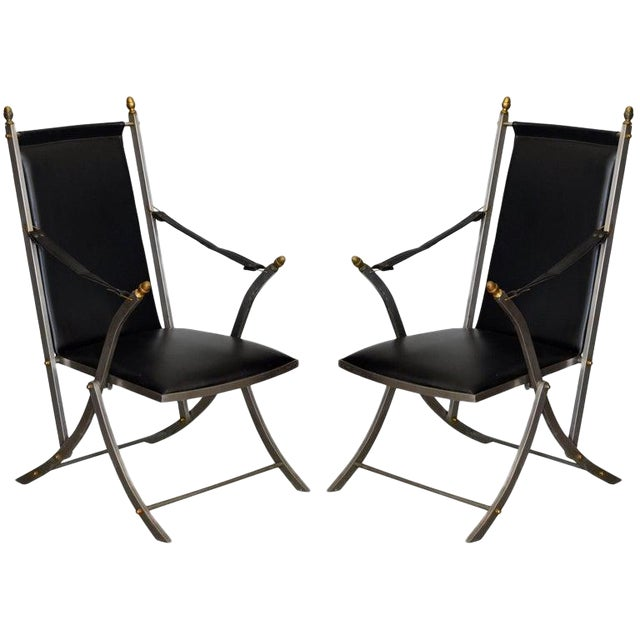 Image of Pair of Chic Folding Campaign Armchairs in the Style of Maison Jansen