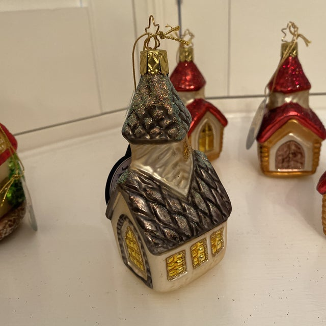 Late 20th Century Inge Church and House Collection Glass Ornaments - Set of 6 For Sale - Image 5 of 11