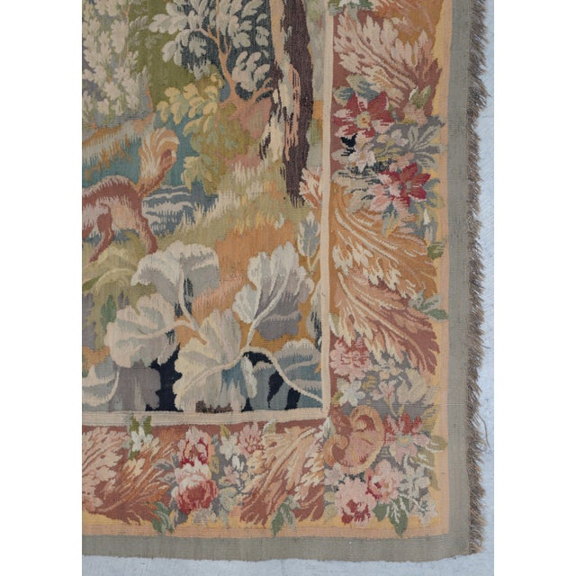 Fine Antique European Tapestry Depicting a Country Scene With Dogs For Sale In San Francisco - Image 6 of 13