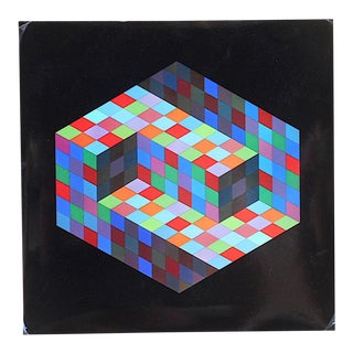 "Vintage Mid Century Abstract Op Art Heliogravure-Victor Vasarely-""Gestalt"" For Sale"