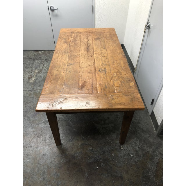 Rustic Reclaimed Two Drawer Farm Table For Sale In San Francisco - Image 6 of 10