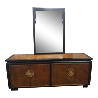 Chin Hua by Century Furniture Dresser Burl & Black Laquer Asian With Mirror For Sale
