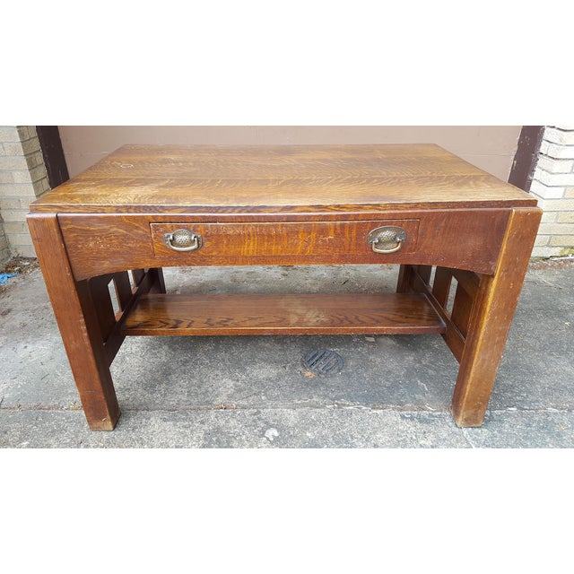 Up for offer here is a fine antique circa 1900 Mission Style, Arts & Crafts era quarter-sawn oak library desk table with...
