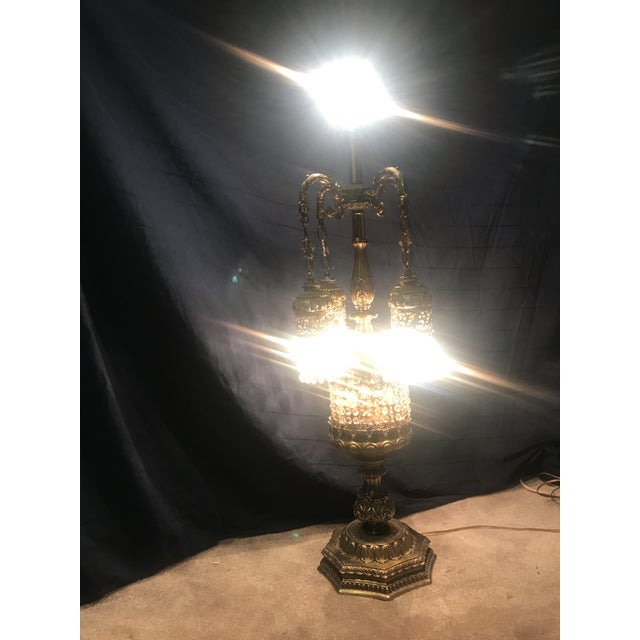 Gold Vintage Prism Glass Waterfall Tall Table Lamp For Sale - Image 8 of 11