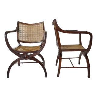 English Regency Style Mahogany and Cane Curule Form Armchairs For Sale