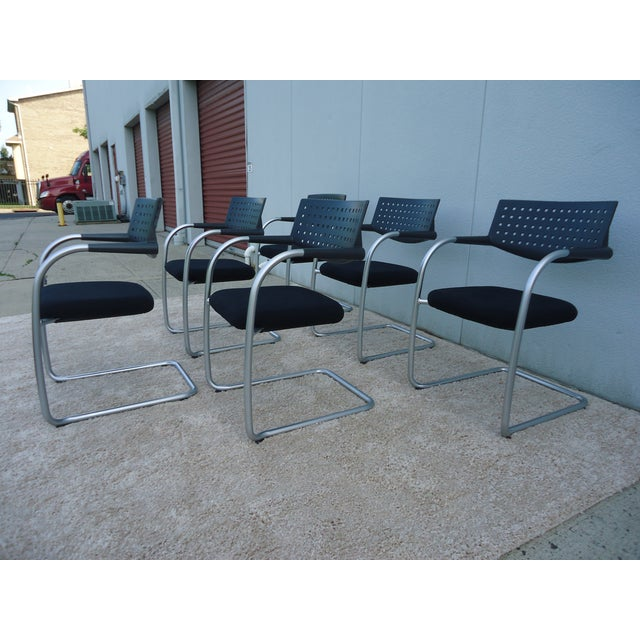 Modern Modern Antonio Citterio for Vitra Visasoft Visavis Guest and Conference Chairs- Set of 6 For Sale - Image 3 of 13