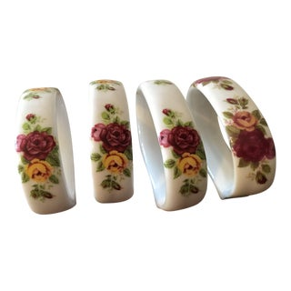 Vintage Floral Bone China Napkin Rings - Set of 4