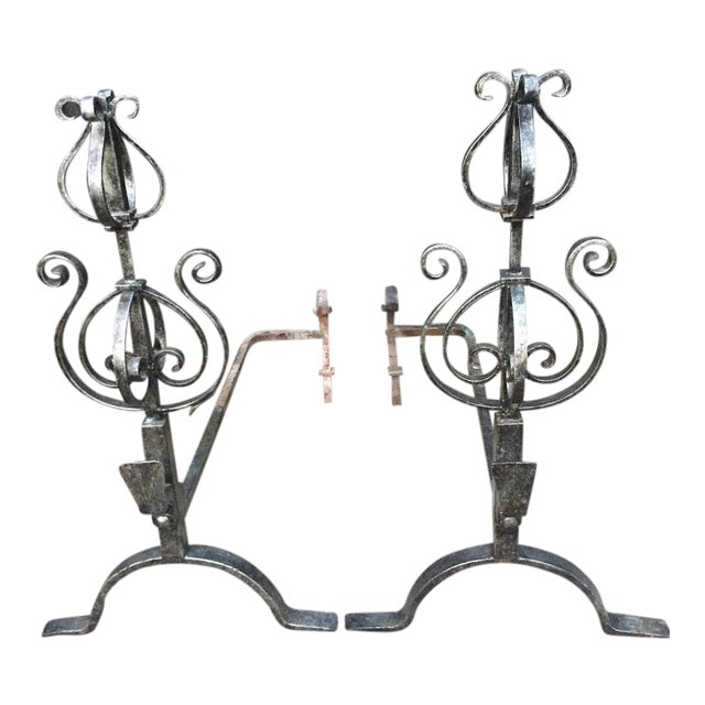 Wrought Iron Fire Dogs - A Pair For Sale