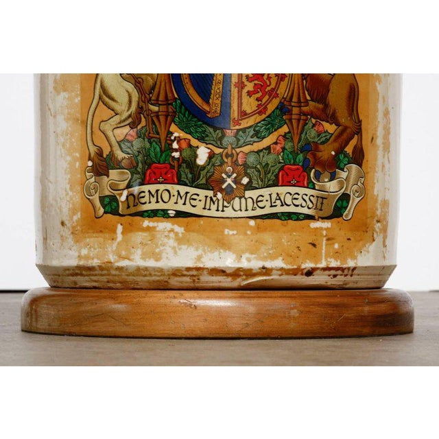 Glazed Ceramic Crock Lamp With English Royal Coat of Arms For Sale - Image 12 of 13