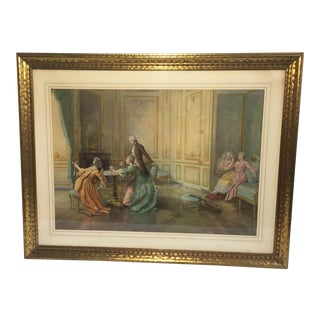 Large Parlour Scene Print in Ornate Gilt Frame For Sale