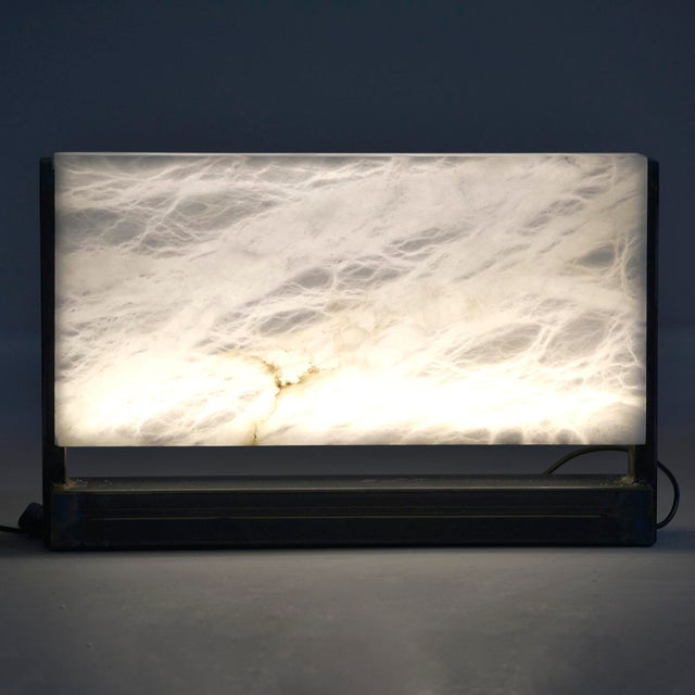 Hand Carved Italian Alabaster Rectangular Led Table Lamp For Sale - Image 11 of 13