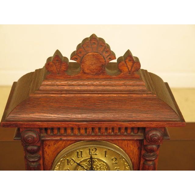 Antique Victorian Oak Mantle Clock For Sale In Philadelphia - Image 6 of 10