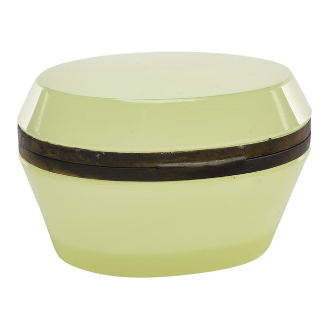 French Oval Uranium Opaline Glass and Brass Box For Sale