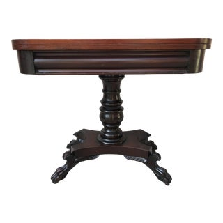 Antique American Mahogany Empire Folding Game Table For Sale