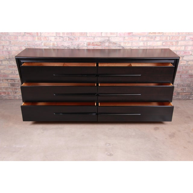Edmond Spence Swedish Modern Ebonized Birch Dresser or Credenza, Newly Refinished For Sale - Image 9 of 13