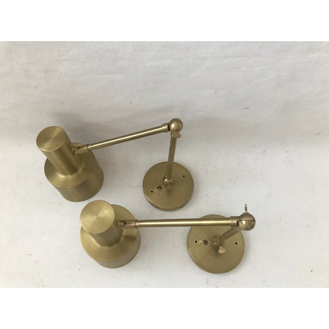 Modern Modern Cedar & Moss Brass Double Articulated Wall Lamps Sconce-A Pair For Sale - Image 3 of 12