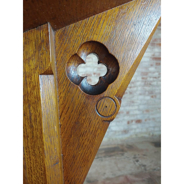 Brown Gothic Revival -Vintage Carved Oak Reading Church Pedestal For Sale - Image 8 of 11
