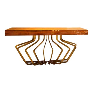 Mid-Century Italian Brass and Lacquered Madagascar Wood Console