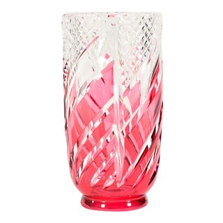 Val Saint Lambert Signed Art Deco Crystal Vase Cranberry Overlay Cut to Clear For Sale