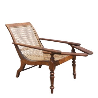 Antique Anglo Indian Satinwood Cane Seat Plantation Planters Lounge Chair For Sale