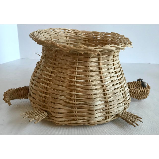 Mid 20th Century Vintage Wicker Turtle Planter Basket For Sale - Image 5 of 8
