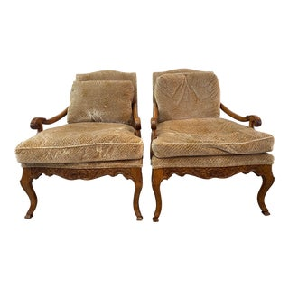 Minton Spidell Vintage Fren Country Style Lounge Chairs - a Pair For Sale