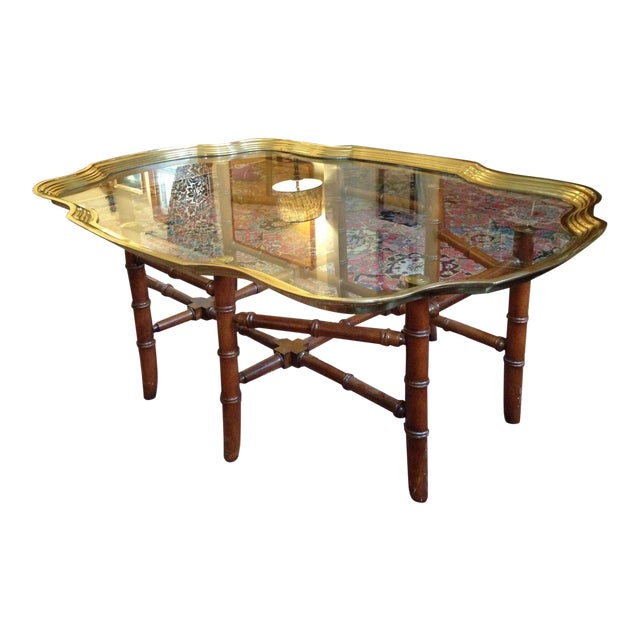Glass Coffee Table Brass Base: Baker Glass & Brass Tray Coffee Table With Faux Bamboo