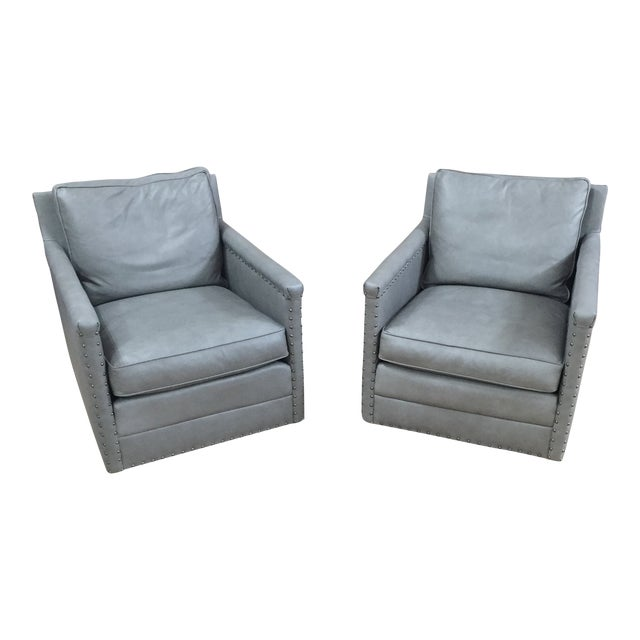 Modern Lee Industries Leather Club Swivel Chair- A Pair For Sale