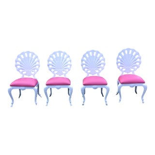 Vintage Pink & White Aluminum Patio Chairs - Set of 4