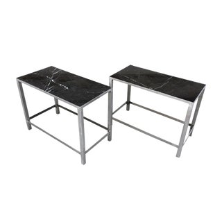 Custom-Made Marble & Steel End Tables - a Pair For Sale