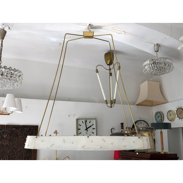 Beautiful Midcentury Chandelier With Handmade Shades For Sale - Image 9 of 12