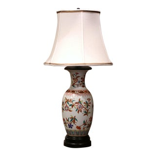 Mid-20th Century Chinese Porcelain Famille Rose Vase Converted Into Table Lamp For Sale