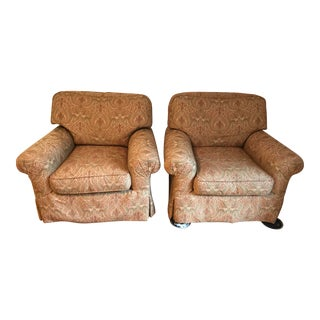 Transitional Damask Fabric Scroll Arm Chairs - Set of 2