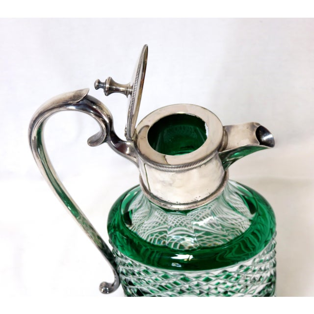 1910s Antique Bohemian Cut Glass Emerald Green Wine Pitcher For Sale - Image 5 of 7