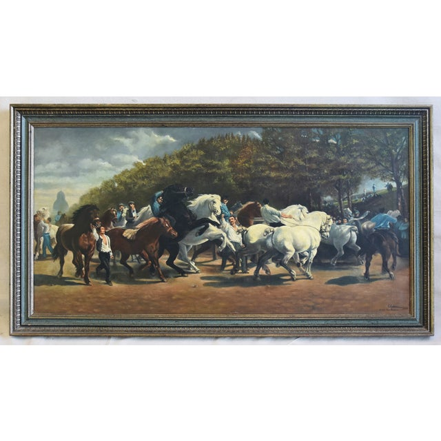 "Circa 1928 French oil painting by the artist G. Robie of the famous Rosa Bonheurs painting ""Marché Aux Chevaux"" which is..."