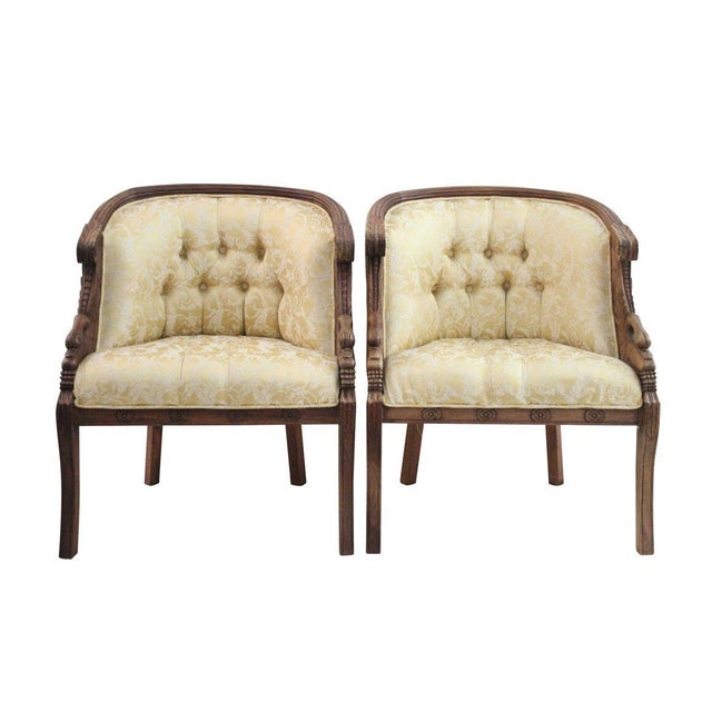 Mahogany Swan Carved Armchairs - A Pair - Image 2 of 5
