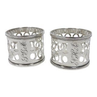 1910's Antique Sterling Silver Napkin Rings- A Pair