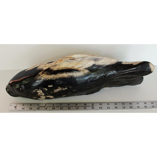 Asian Hand Carved Petrified Wood Koi Fish Sculpture For Sale - Image 3 of 8