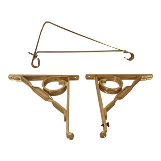 Vintage Gold Metal Hanger & Corners - Set of 3 For Sale