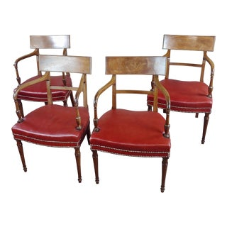 1820s George IV Mahogany Arm Chairs with Red Leather Seats - Set of 4 For Sale