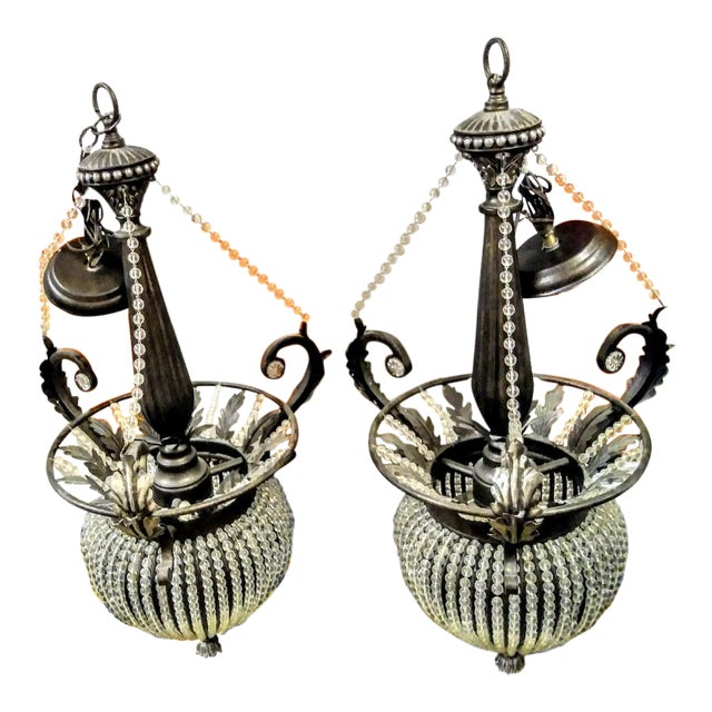 A Pair Massive Beaded French Style Crystal Hanging Chandeliers Cristol De Lisbon For Sale