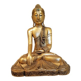 Carved & Gilded Wooden Seated Buddha
